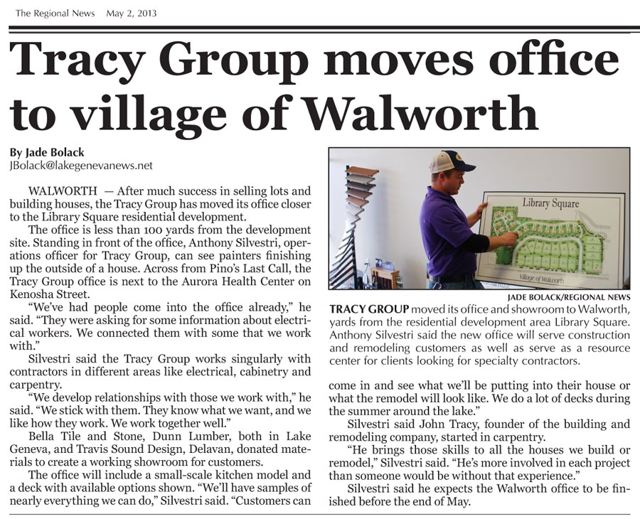 Tracy Group moves office to village of Walworth